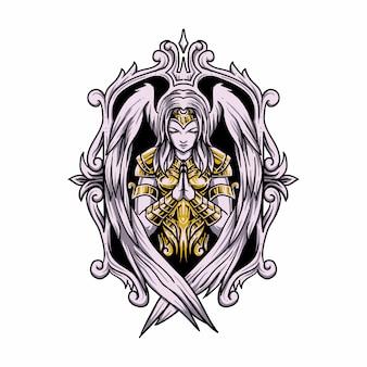 Ангел женщина молится иллюстрации