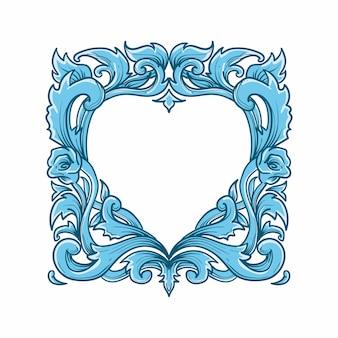 Рамка сердце любви покидает природу