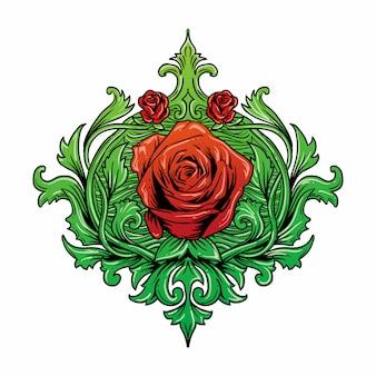 Красные розы с натуральными зелеными листьями