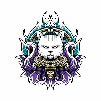 Кот с иллюстрацией стиля гравировки доспехов