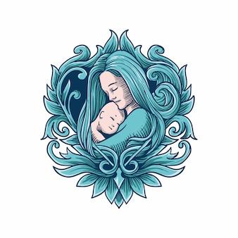 Мать с детской иллюстрацией стиля гравировки