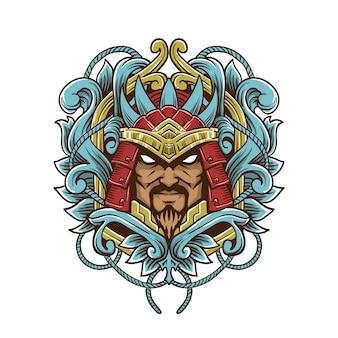 Иллюстрация стиля гравюры самурая