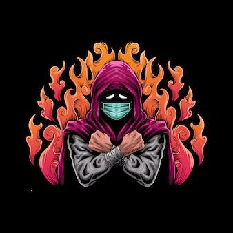 Человек с накидкой и маской