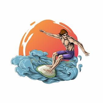 Серфинг на волнах моря