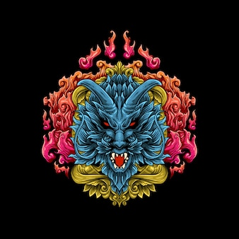 Голова дракона иллюстрации вектор стиль гравировки