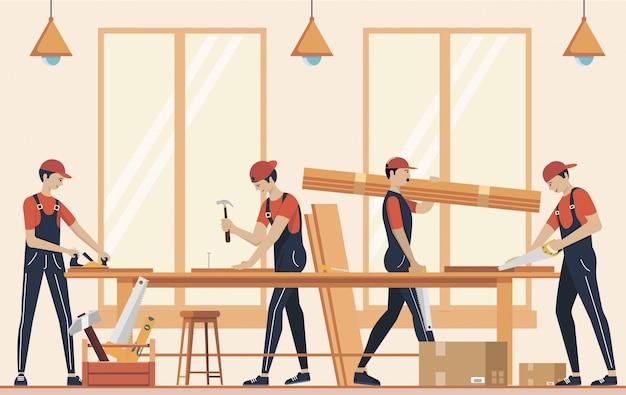 Иллюстрация концепции сборки мебели. изготовление мебели. рабочие производства с профессиональными инструментами.