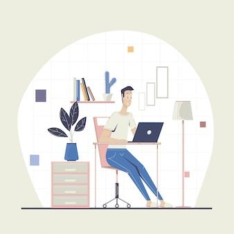 Мужской фрилансер работает удаленно. работа из дома. фрилансер работает на ноутбуке. домашний офис. плоская иллюстрация.