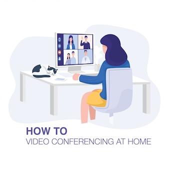 自宅でのビデオ会議、自宅でクライアントとのビデオ通話会議を持つ女性。