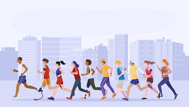 フラットなデザインスタイル。健康な若者と一緒にジョギングする障害者のグループ。ベクター