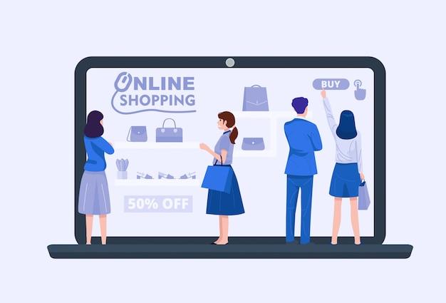 Группа людей, использующих ноутбук для покупок в интернете, вектор
