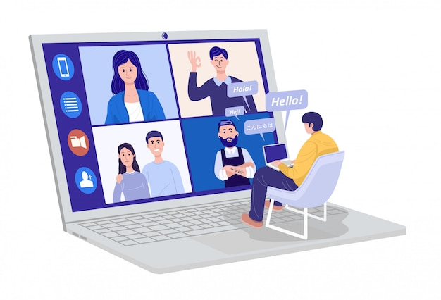 自宅でのビデオ会議、自宅のクライアントとのビデオ通話会議を持つ男。多くの異なる書かれた言語での挨拶メッセージ。
