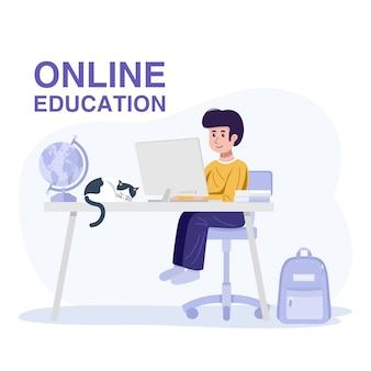 オンライン教育の概念。自宅のコンピューターで学ぶ少年。ベクター