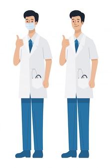 親指をあきらめて、イラストをマスクを身に着けている若い男性医師