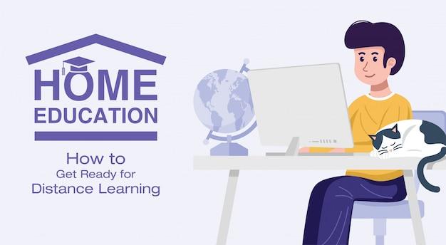 家庭教育のコンセプトです。自宅のコンピューターで学ぶ少年。