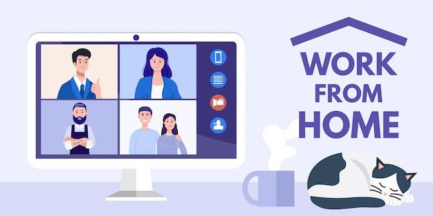 Работа из дома концепции. иллюстрация людей на видео конференции на компьютере.