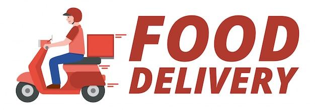 Доставка скутер человек с текстом доставки еды,