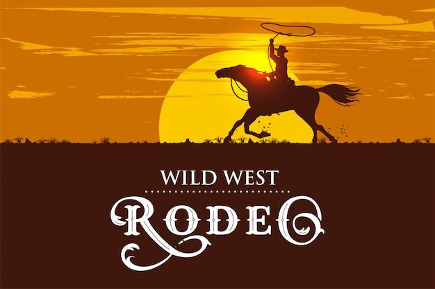 日没で馬に乗るカウボーイのシルエット