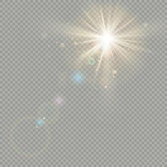 Эффект боке круги с солнечным сиянием. эффект бликов объектива.