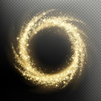 ゴールドラメ粒子が渦巻く花火ライトサークルオーバーレイ効果。