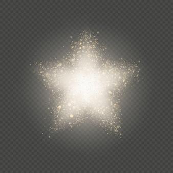 金の星のほこりキラキラ爆発、点滅する柔らかい粒子。