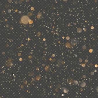 オーバーレイ効果キラキラゴールドライトシャイン効果で透明な背景。