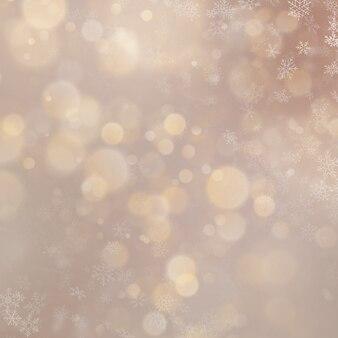休日は、雪とゴールドの背景のボケ味を抽象化します。