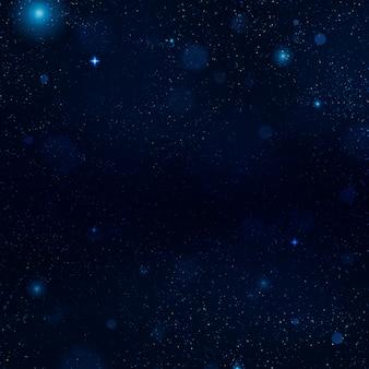 柔らかな光でリアルな青い星空。星、星雲、銀河に満ちた宇宙。