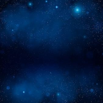 宇宙の青い星雲。夜輝く星空、青い空間の背景。宇宙。銀河。