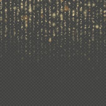 クリスマスと新年の効果。カーテンの背景の透明なキラキラ糸を重ねます。きらめく光の輝きがにじみます。金の粒子が雨を降らせます。光沢のあるスパンコールがついたファッションストラスドロップ。