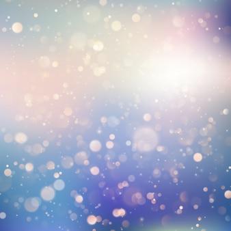 柔らかく繊細な青と紫のパステルカラーの背景にキラキラボケ光の反射。