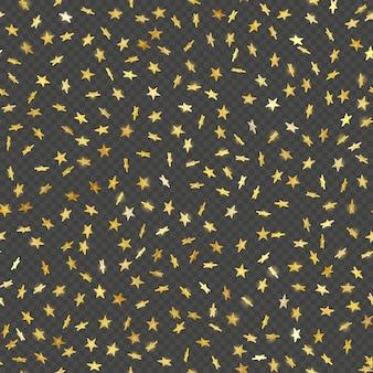 シームレスなゴールドスター紙吹雪雨お祭りパターン効果。