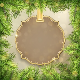 Рамка ветвей рождественской елки с ярлыком, украшением рамки бирки для продвижения покупок продажи праздника нового года