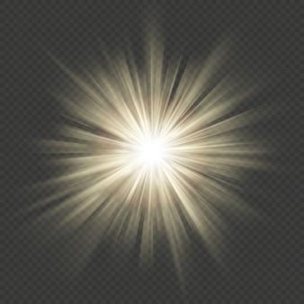 暖かい輝きスターバーストフレア爆発透明な光の効果。