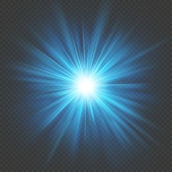 青い輝きスターバーストフレア爆発光効果。透明な背景に。