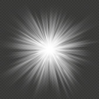 白い輝きスターバーストフレア爆発透明な光の効果。
