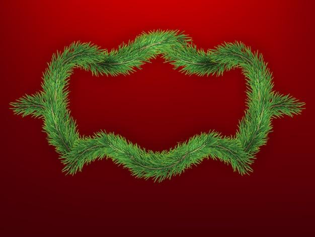 モミの木のフレームと冬の休日の背景。クリスマスツリーの枝との国境。新年のポスター、カード、ヘッダー、バナーに最適です。