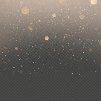 Эффект наложения частиц блеска. золотой сверкающий звездной пыли сверкающих частиц на прозрачном фоне.