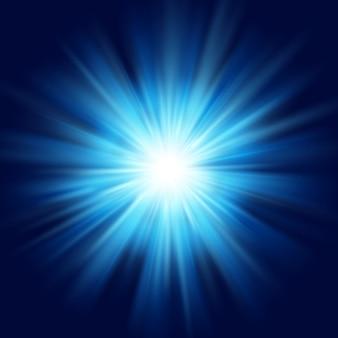 深い青色の輝きスターバーストフレア爆発透明な光の効果。