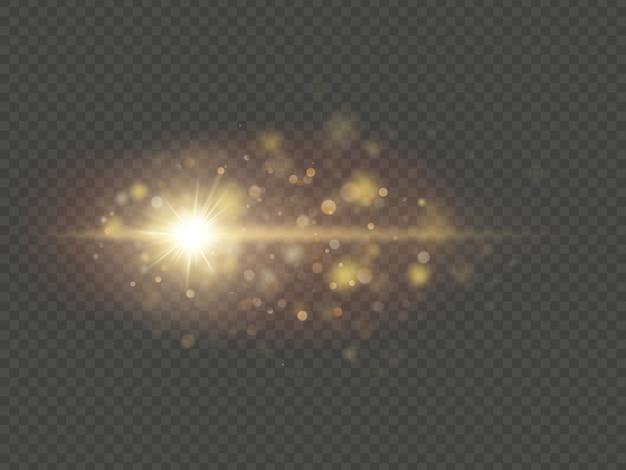 特殊効果-輝く星の太陽の粒子と火花。透明な背景にキラキラとスパンコールボケライト。
