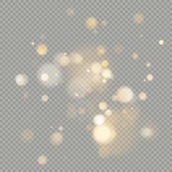 Влияние боке круги на прозрачном фоне. рождество светящийся теплый оранжевый блеск элемент, который можно использовать.