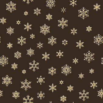 Счастливого рождества праздник украшение эффект. золотая снежинка бесшовные модели.