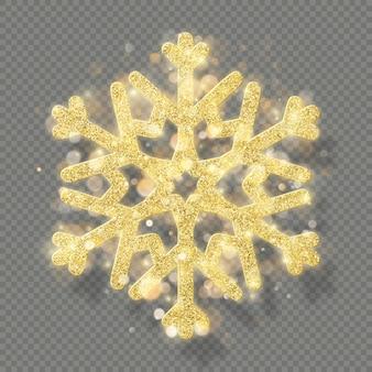 Богатые рождественские текстуры украшения с блеском золотой боке. блеск снежинки, изолированные на прозрачном фоне.