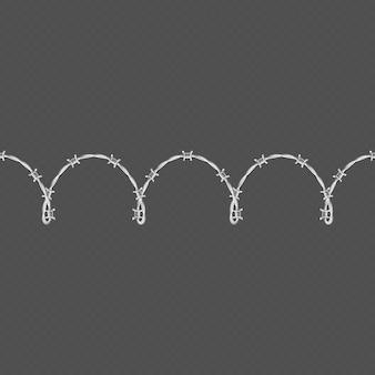 金属の有刺鉄線の水平シームレスな境界線テンプレートおよび要素オブジェクト。