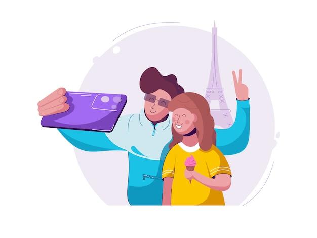 Селфи фото в париже с мобильной камеры