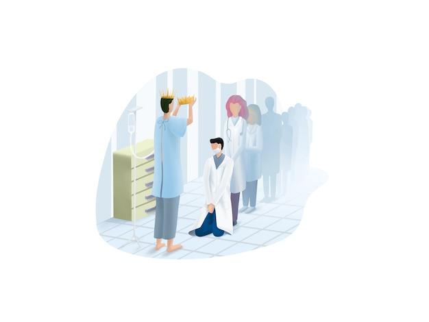 医師は病院のイラストでコロナウイルスに感染する