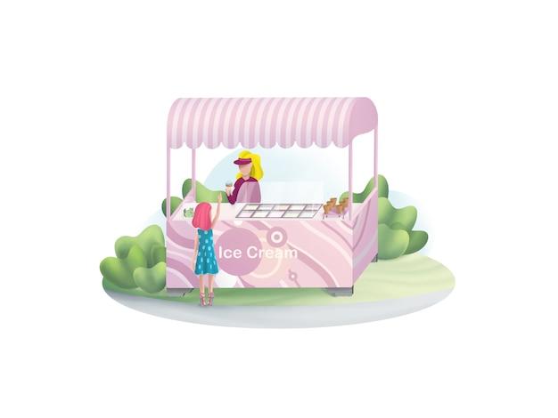 女の子は公園のイラストでアイスクリームを買う