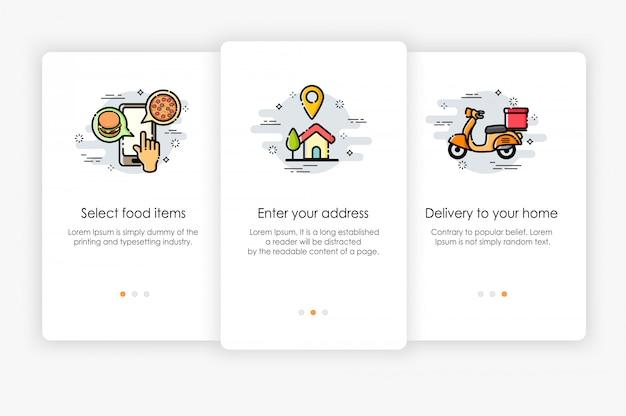 Дизайн бортовых экранов в концепции доставки еды. современная и упрощенная иллюстрация, шаблон для мобильных приложений.