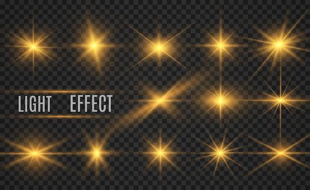 Набор ярких красивых звезд. световой эффект яркая звезда. блеск белого блеска со специальным световым эффектом.
