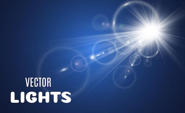 明るく美しい星のセットです。光の効果。明るい星。特別な光の効果で白いキラキラ輝く。透明な背景の上で輝きます。