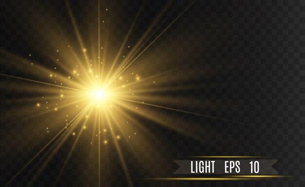 黄金の明るい星。ライト効果の明るい星。透明な背景の上で輝きます。